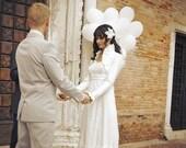 Carina Wedding Bolero - Long Sleeved Ivory Silk Vintage Inspired Bridal Shrug