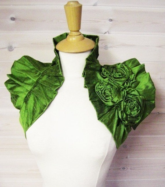 Victoriana Wrap - Parrot Green Dupioni Raw Silk Wrap Ruffled Shrug with Handmade Corsage Flower Detail Vintage Inspired