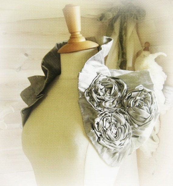 Victoriana Wrap - Silver Dupioni Raw Silk Wrap Ruffled Pleated Wedding Shrug with Handmade Corsage Flower Detail