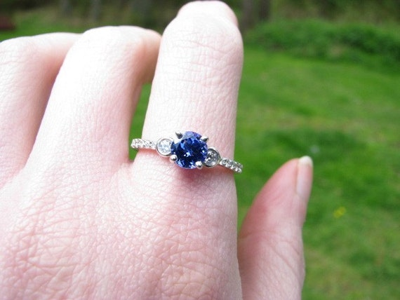 FREE SHIPPING  - Sale Price - Estate 18K Tanzanite and Diamond Ring - Absolutely Stunning High Quality