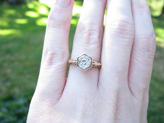FREE SHIPPING - Vintage 14K Gold Diamond Solitaire Ring - Pretty filigree and Raised Setting