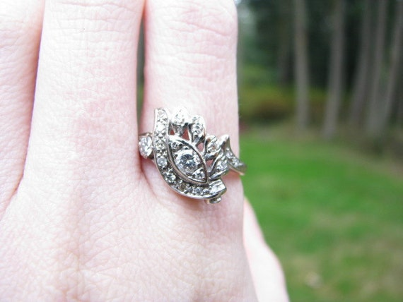 RESERVED for Melissa - Vintage 14K White Gold Diamond Ring - Swirl and Leaf Style Cocktail Ring - Free Shipping