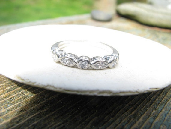 Wonderful Art Deco Platinum Diamond Wedding Band - Round and Marquise Diamonds - Engraved 1930 - FREE SHIPPING