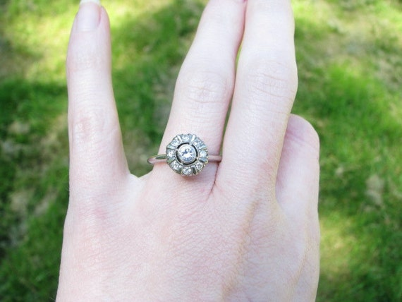RESERVED for Teal - Lovely Vintage 1940's 14K White Gold Diamond Halo Cluster Ring - Pretty and Retro - Free Shipping
