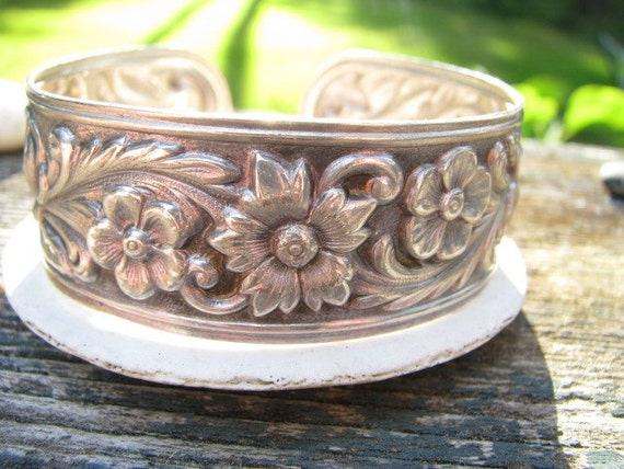 Wonderful Vintage Sterling Repousee Floral Bracelet - S. Kirk and Son - Beautiful and Substantial - FREE SHIPPING