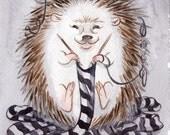 Knitting Hedgehog for Heifer International