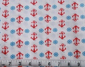 Destash-Red Anchors on White Fabric