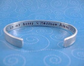 Memorial Cuff Bracelet Hidden Message Hand Stamped