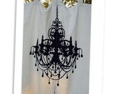 Custom Curtains Chandelier Silhouette