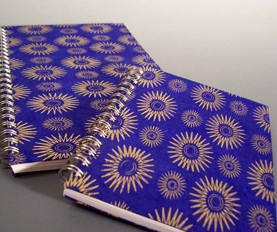 Blue Starbursts Spiral Notebook - Large Size - Ecofriendly