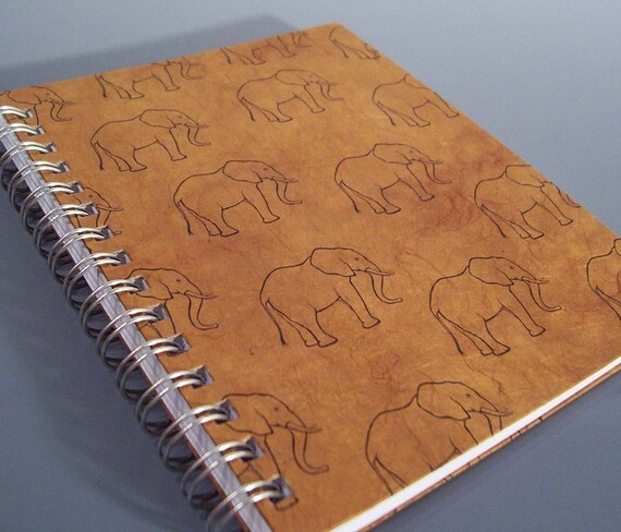 Elephants  Spiral Notebook - Large Size - Ecofriendly - You Choose Paper Color