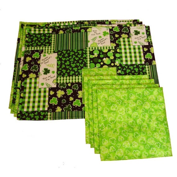 st patrick 39 s day placemats and napkins shamrock
