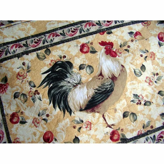 Rooster Placemats And Cloth Napkins Set Of 6 French Country