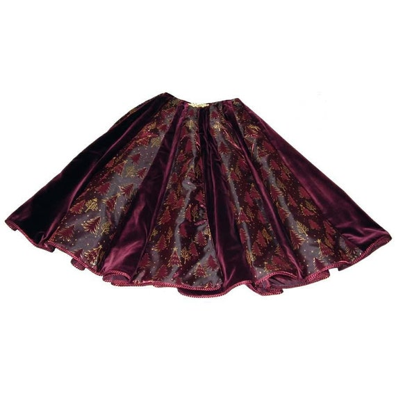 Burgundy velvet christmas tree skirt on sale by cranberrymak