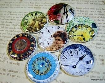 Clock Face Magnets, Clock Face Pins, Vintage Clock Face, Clock Face Cabochons, Clock Flatbacks, Clock Party Favors