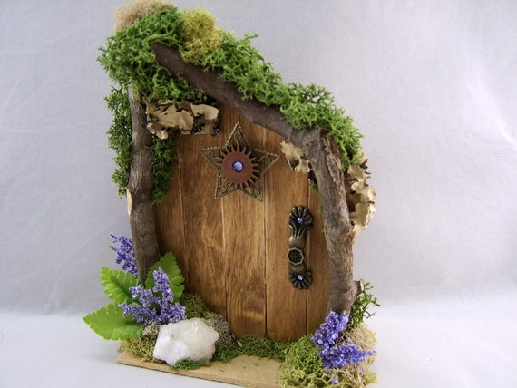 Wooden fairy door with twig framing for Wooden fairy doors