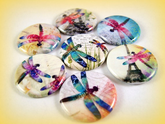 One Inch Flat Back Dragonfly Buttons 12 Ct.