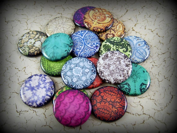 12 Faux Fabric Flat Back Buttons for Your DIY Creations, Use in Jewelry, Hair Pins, and More