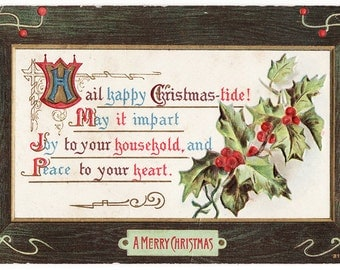 Hail Happy Christmas-tide - Vintage Christmas Postcard from 1909