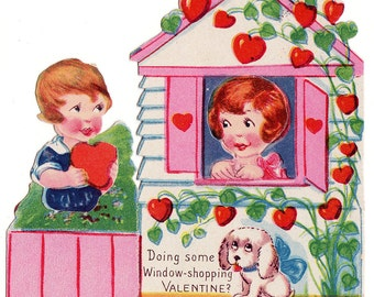 Vintage Punch Out Moveable Valentine - Window Shopping - in Great Shape - circa 1925