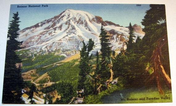 2 Mount Rainer Washington Vintage Postcards ACEP Scrapbooking