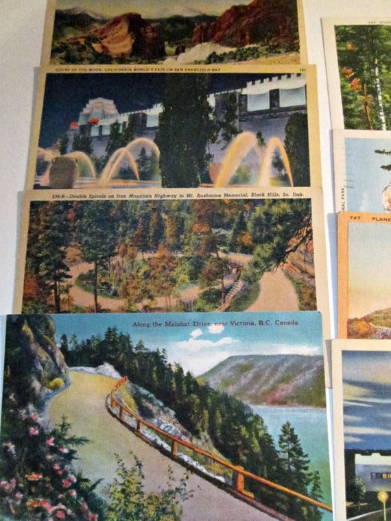 Vintage Postcard Instant Collection - 8 Gorgeous Linen Postcards from all over