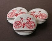 Bicycle Buttons | Set of 3 | Bike Fabric Buttons | Red Bicycle Print