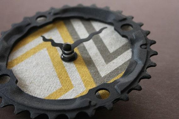 chevron recycled bike clock