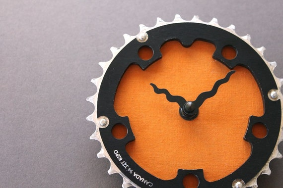 bicycle clock - canadian orange