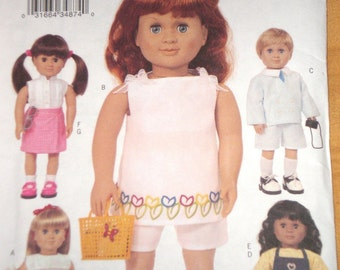 18 inch DOLL Pattern Butterick 3491 Jumper Dress Boy Outfit Shorts And Top Uncut