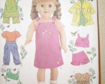 Doll PATTERN SIMPLICITY 4654 Dress, Shorts Top Cover-Up Uncut