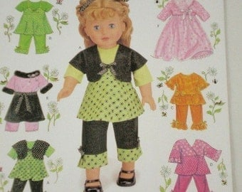 American Girl Doll clothes pattern Simplicity 2458 Sundress, Top, Shrug, Pants, Scarf, Skirt and Jacket for 18 Inch Dolls
