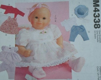 DOLL Clothes Pattern McCalls 4338, Baby Doll Clothes , Uncut