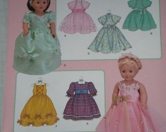 DOLL Clothes Pattern Simplicity 3547 , Party Dress, Cinderella, boutique  dress, bolero, new uncut