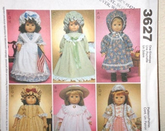 AMERICAN GIRL DOLL Clothes Pattern McCalls 3627 Vintage  Look  Doll Clothes