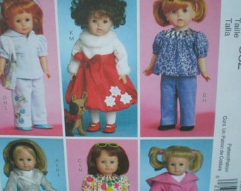 McCalls 5775 18 in Doll Clothes  dog Pattern 6 Styles Doll pattern