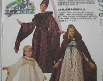 McCalls Costumes 6775 Sizes 7-8 & 10-12 Medieval Magic C0stumes GIRLS STYLES Uncut