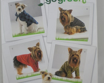 Simplicity 2695 go green DOG CLOTHES COATS in 3 Sizes Sewing Pattern sm. med. lg. New Uncut