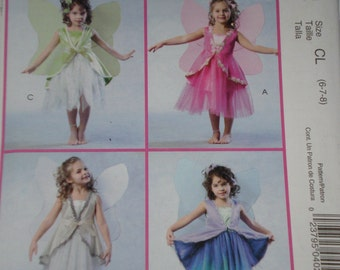 Girls Child Fairy Butterfly Princess Costume Sewing Pattern McCalls 4887 Uncut Size 2-5 or 6-7-8