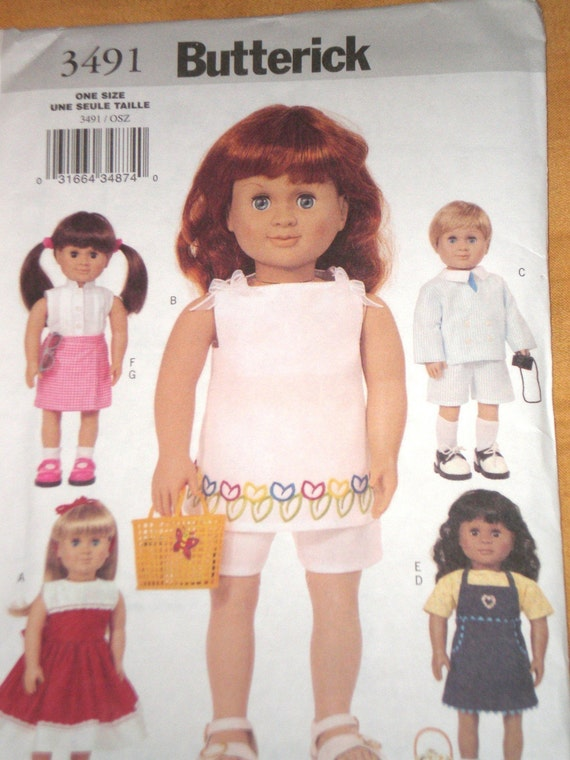 AMERICAN GIRL DOLL Pattern Butterick 3491 Jumper Dress Boy Outfit Shorts And Top Uncut