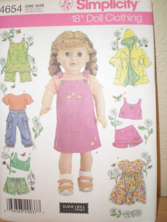 AMERICAN Girl Doll PATTERN SIMPLICITY 4654 Dress, Shorts Top Cover-Up Uncut