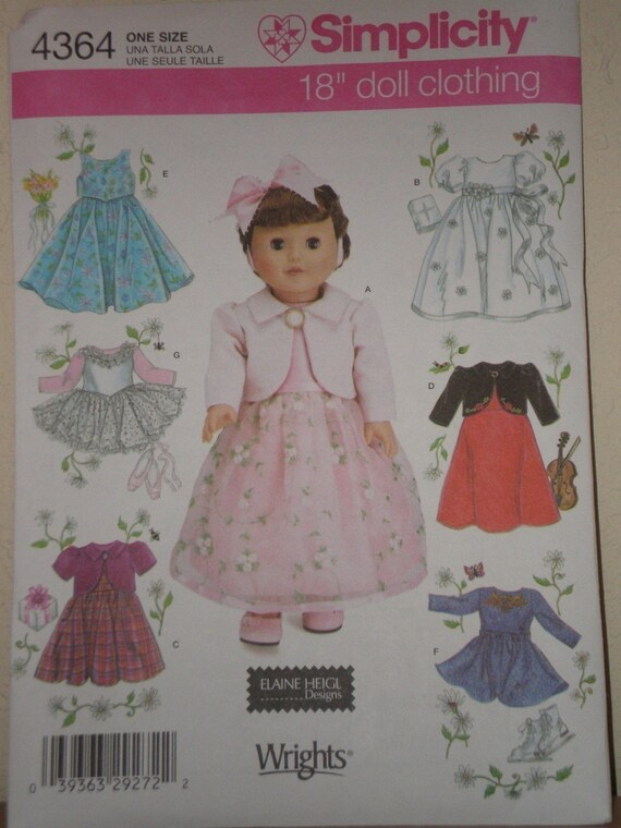 American Girl DOLL PATTERN SIMPLICITY 4364 0638 Party Dress, Tutu, Leotard, Ice Skating Dress.  Uncut