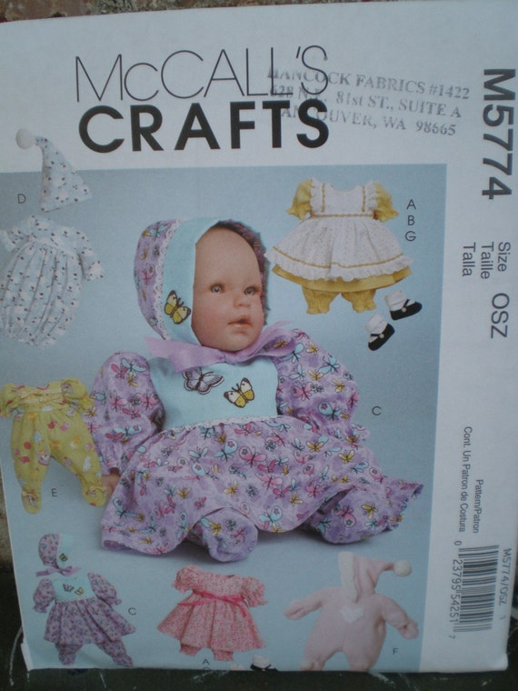 Brand New McCalls 5774 BABY DOLL CLOTHES Pattern 11-16 in. dolls
