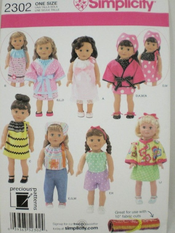 18 inch doll clothes pattern Simplicity 2302 Modern Look  Brand New Pattern