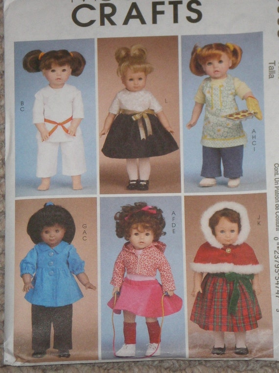 18 in.  Doll Pattern dress, coat, apron, mit, karate outfit, pants, skirt McCalls 6006 New Uncut