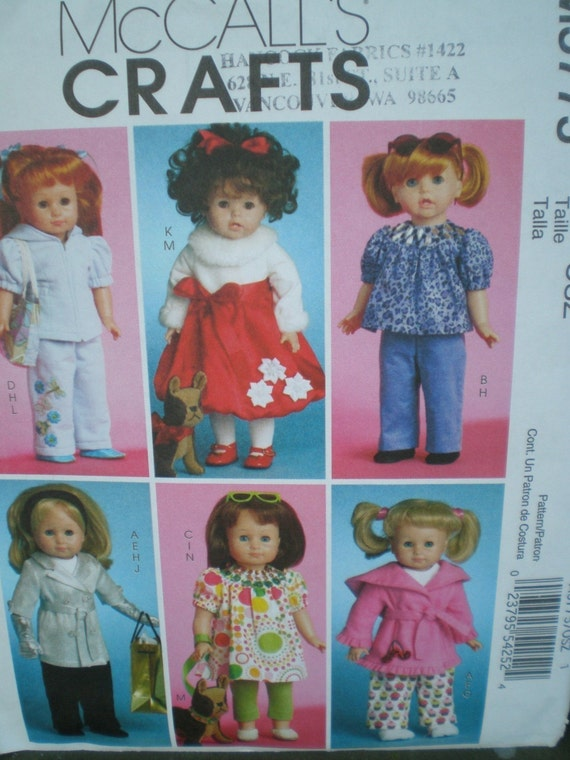 McCalls 5775 18 in Doll Clothes  dog Pattern 6 Styles American girl Doll