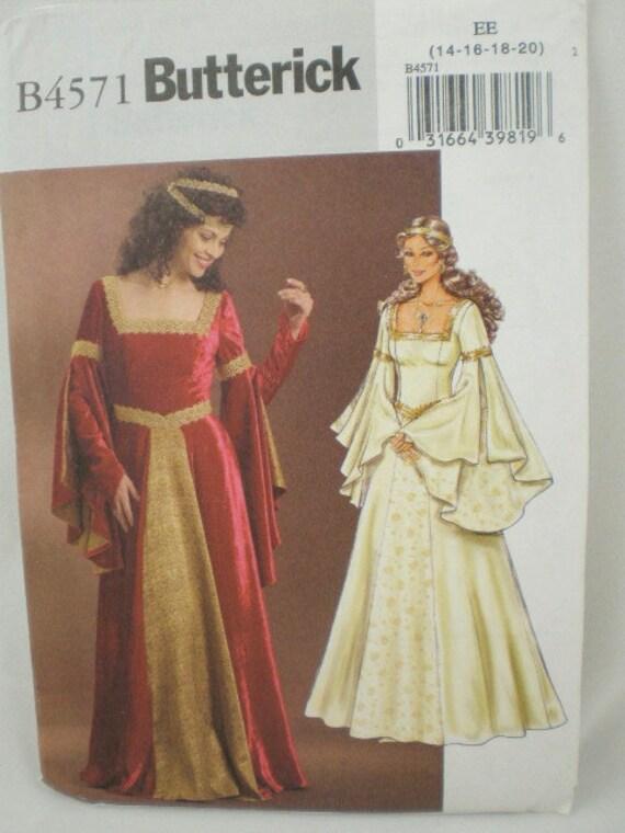 Butterick 4571 Queen Medieval Gown Costume Pattern Misses  Renaissance size 6-12  NEW