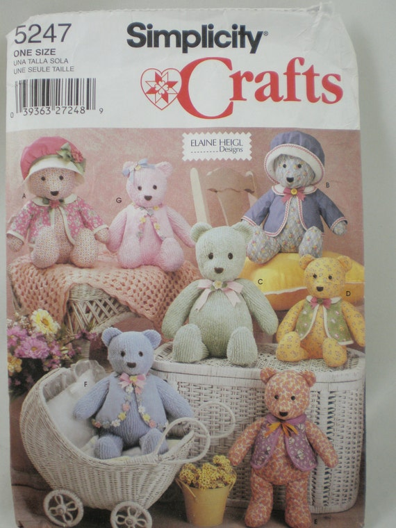 "Simplicity Pattern 5247 Decorative Bears & Clothes 15"" and 18"" Uncut"
