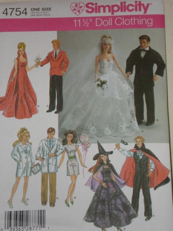 Barbie Ken Doll Clothes Pattern Evening Gown Wedding Dress