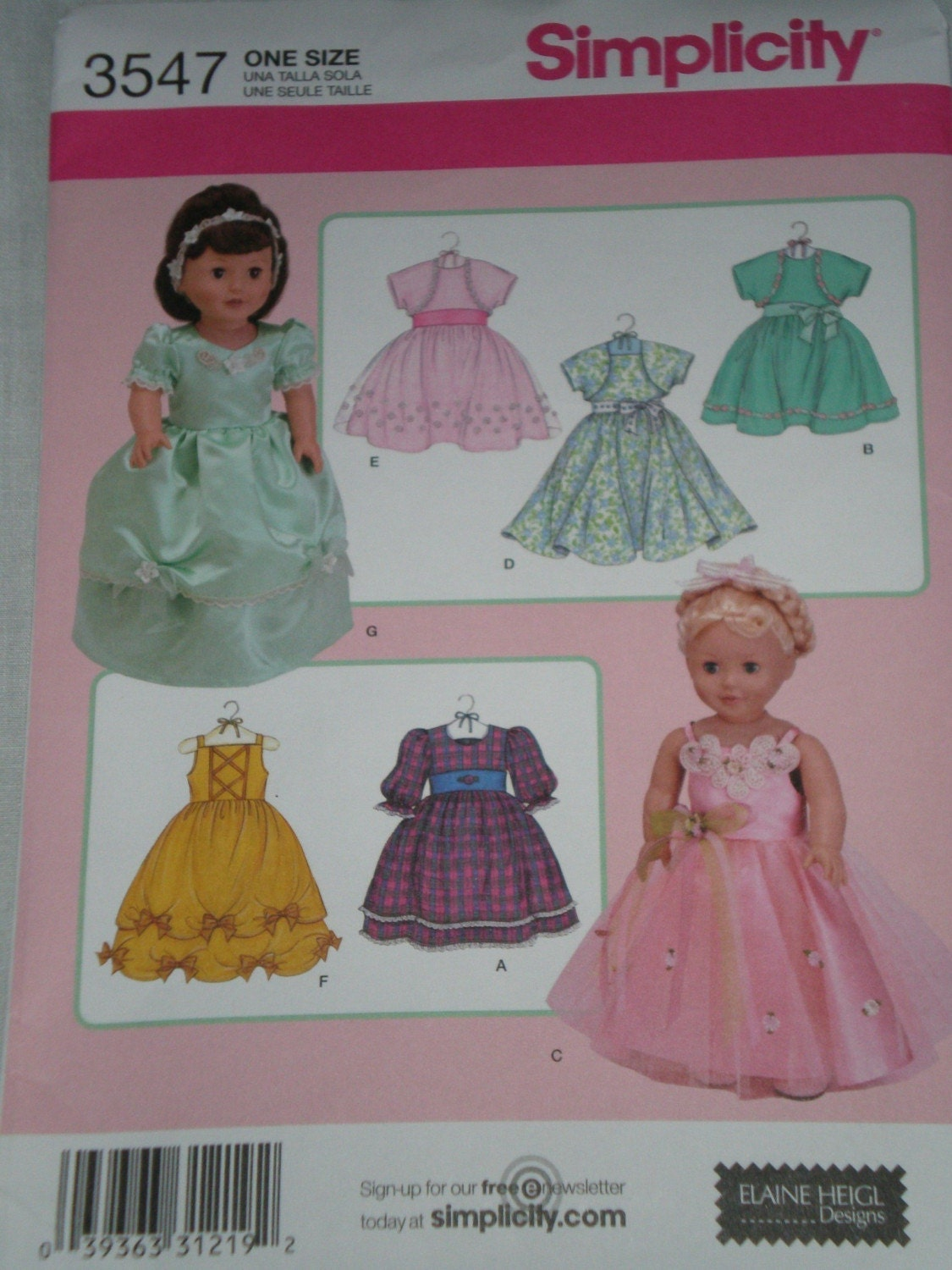 American Girl Doll Clothes Pattern Simplicity 3547 Party